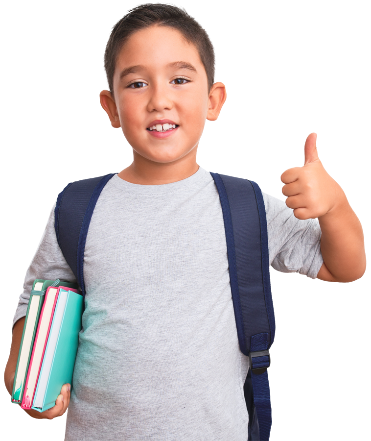 young kid with books and a backpack holding a thumbs up
